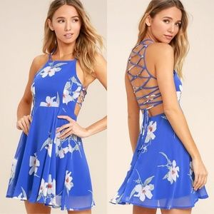 Lulu's Happy Together Blue Floral Lace-Up Dress S